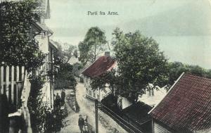 Parti fra Arna. Håndkolorert postkort fra tidlig 1900-tall. Fotograf: Ukjent. Arkivet etter Arne Fabrikker, Bergen Byarkiv.