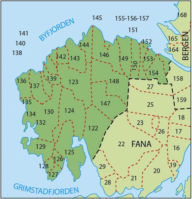 Kart over navnegårder i Laksevåg. Fra Kunnskapsforlaget.