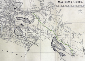 Utsnitt av kart over Årstad fra 1921 med Slettebakksveien tegnet inn med grønt. Arkivet etter Oppmålingsvesenet, Bergen Byarkiv.