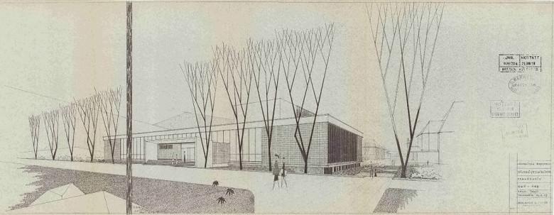 Arkitektene Kåre Kvilhaug og Jo Svares tegning fra 1957 av den nye hovedbygningen til Universitetsbiblioteket. Arkivet etter Bygningssjefen, Bergen Byarkiv.