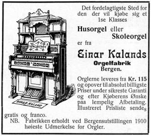 Einar Kaland musikkforlag og orgelfabrikk. Her ble det produsert orgler fra 1909 til 1925, men forlaget og musikkforretningen eksisterte helt til rundt 1970. Fotograf: Norvall Skreien.