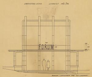 Forum Kino eller Kronstad kino som den het i planleggingsfasen, regnes som et av arkitektens Ole Landmarks hovedverker. Ole Landmarks Tegning fra 1946. Arkivet etter arkitekt Ole Landmark, Bergen Byarkiv.