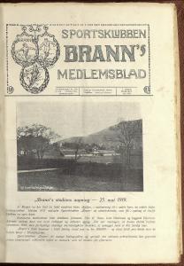 """""""Brann's stadions aapning – 25. mai 1919"""". Fra Sportsklubbens Branns Medlemsblad. Arkivet etter Sportsklubben Brann, Bergen Byarkiv."""