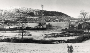 Brann stadion på 1970-tallet. Fotograf: Ukjent.<br />Arkivet etter Morgenavisen A/S, Bergen Byarkiv.