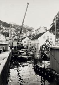 Salhus på 1970-tallet. Fotograf: Ukjent. Arkivet etter Morgenavisen A/S, Bergen Byarkiv.