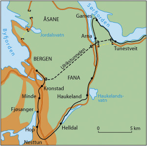 Bergensbanen. Kartet som viser situasjonen før og etter åpningen av Ulrikstunnelen. Fra Kunnskapsforlagt.