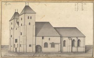 Statsbyggmester J. J. Reichborns tegning av Mariakirken 1760-årene. Illustrasjon hentet fra Hildebrandt Meyers manuskripter, Bergen Byarkiv