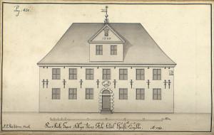 Korskirkens fattigskole som ble stiftet i 1737, og senere omdøpt til Christi Krybbes skole, er Nordens eldste barneskole. Reichborns tegning fra 1768. Arkivet etter De eligerte menn, Bergen Byarkiv.