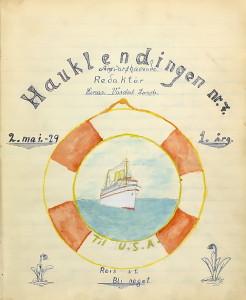 Haukelands skoleavis. Avisen er skrevet og illustrert for hånd i en skrivebok. Forside for nr. 7. i 1929. Arkivet etter Haukeland skole, Bergen Byarkiv.