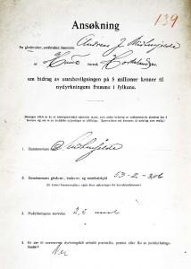En av jordstyrenes viktigeste oppgaver var å videreformidle penger til å fremme landbruket lokalt. Søknad om tilskudd, 1919. Arkivet etter Jordstyret i Haus/Arna kommune, Bergen Byarkiv.