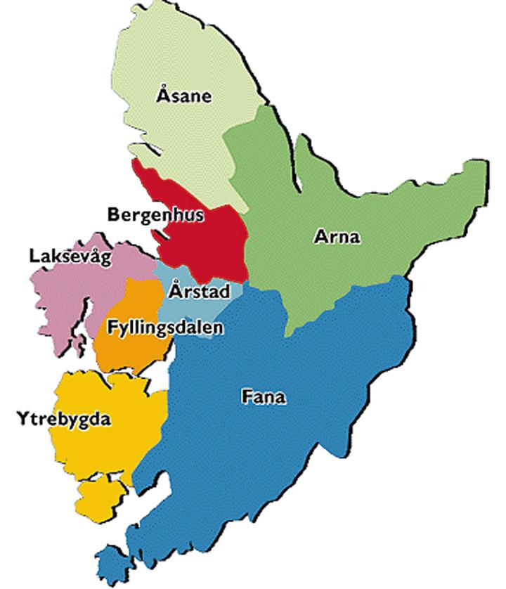 bergen bydeler kart Kart som viser de politiske bydelene. | Bergen byleksikon bergen bydeler kart