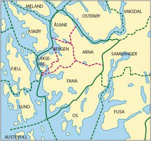 Kartet viser situasjonen etter kommunesammenslåingen 1972, da de fire tidligere omegnskommunene Arna, Fana, Laksevåg og Åsane ble slått sammen med byen. Bergen har nå 10 nabokommuner (regnet fra nordøst – kartets øverste høyre hjørne – og med urviseren): Vaksdal, Samnanger, Os, Austevoll, Sund, Fjell, Askøy, Meland, Lindås og Osterøy.
