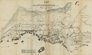 """Kart over """"Del af Store Sandvigen"""". Reguleringsforslag fra 1896.Fra BKF 1888, sak 43, Bergen Byarkiv."""