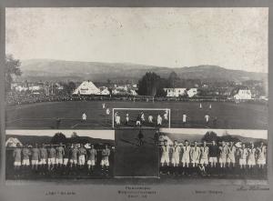Lyn - Brann.. Finalekampen, Norgesmesterskapet, Skien i 1928. Fotograf: Ukjent. Arkivet etter Sportsklubben Brann, Bergen Byarkiv.