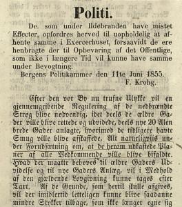 Bergen Politikammer informerer de som var rammet av bybrannen i 1855 og byens innbyggere om nødtiltak og ny regulering.
