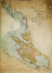 """Havnekart. """"Plan for Bergen havn"""" fra 1902. Arkivet etter Havneingeniøren, Bergen Byarkiv."""