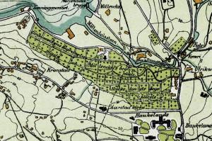 Møllendal gravplass ble anlagt i 1874. Utsnitt av kart fra 1907, oppdatert pr. 1915. Arkivet etter Oppmålingsvesenet, Bergen Byarkiv.
