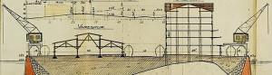 Havneingeniørens arbeidstegning av Dokkeskjærskaien, mai 1916. Arkivet etter Havneingeniøren, Bergen Byarkiv.