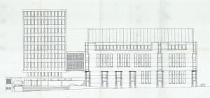 Fasadetegning av Bergen Politikammer med den gamle stasjonen fra 1965, og det nye tilbygget fra 1994 til høyre. Bygget fra 1994 ble tegnet av Aall-Løkeland-Ragde AS. Arkivet etter Bygningssjefen. Bergen Byarkiv.