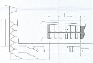 Tegning av den nye hovedbrannstasjonen på Nygårdstangen, som åpnet i 2007. Bygningen ble tegnet av arkitektfirmaet Stein Halvorsen AS. Arkivet etter Brannvesenet (1972 -), Bergen Byarkiv.