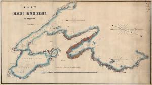 Kart over Bergens havnedistrikt ved W. Neumann 1871. Arkivet etter Havnestyret, Bergen Byarkiv.