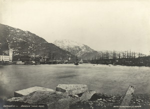 Vågen omkring 1866. Fotograf: Knud Knudsen. Arkivet etter Formannskapet, Bergen Byarkiv.