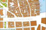 Kart som viser brannstrøket i 1916. Kvartalene som ble ødelagt, er markert med husinndeling og annen farge. Dagens gatenett og havnefront er markert med rødt. Kunnskapsforlaget.