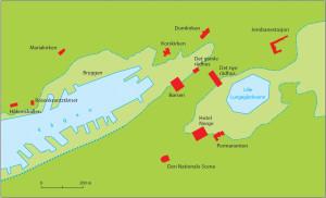 Kartet viser strandlinjen i Vågen og Alrekstadvågen (Lungegårdsvannene) trolig på slutten av 1000-tallet. Rekonstruksjonen bygger dels på arkeologiske utgravninger, dels på grunnboringer og geotekniske analyser foretatt i 1970-årene. Kilde: K. Helle: Bergen bys historie1, s.19-21. Kunnskapsforlaget.