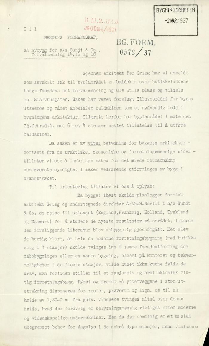 Første siden av Norills brev til Bergen formannskap. Arkivet etter Bygningssjefen, BBA-0430. Klikk på bildet for å lese hele brevet.