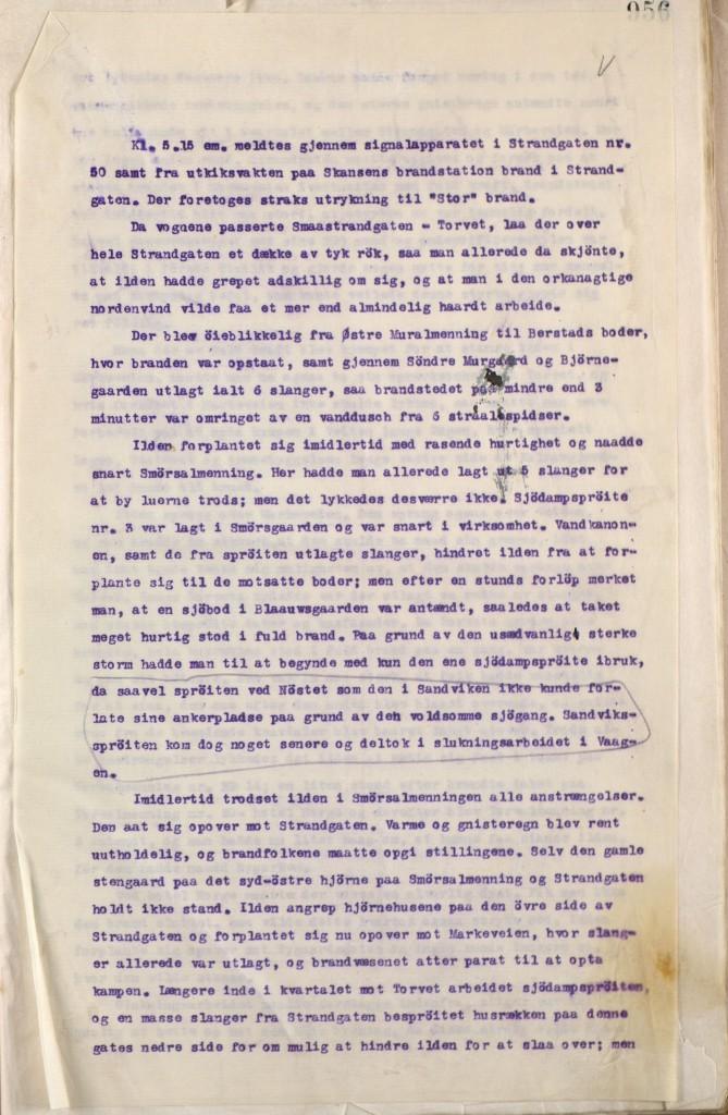 Første side i brannsjef Bernt Rollands rapport om brannen 15. januar 1916. Arkivet etter Bergen brannvesen, A-1181.