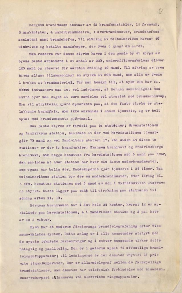 Rapport skrevet av brannsjef Bernt Rolland 20. januar 1916. Arkivet etter Bergen brannvesen, A-1181.