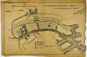 På denne tegningen fra 1908 var det planlagt 41 hus. Etter omdisponering av tomten ble antallet 43,  hvorav 19 frittstående og 12 dobbelthus,