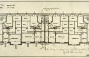 Revidert kjellerplan fra 1918. Det er tegnet inn leiligheter med ett rom og kjøkken på bekostning av boder og fellesarealer.