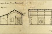 Olaf Jahnsen tegnet en del hytter. Her en liten serveringshytte for Bergensutstillingen 1910.