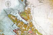 Havneplankart 1903, 1:6000. De rosafargete områdene viser planlagte endringer i havneområdet.