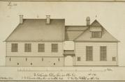 Fattighuset. Tegnet av J.J. Reichborn, fra Hildebrand Meyers manuskripter 1764