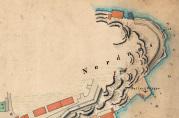 Fyret på Nordnes. Havnekart 1871, 1:5000. Neumann. Se også ballastbryggen.