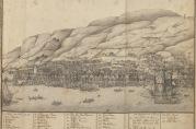 Byprospekt over Bergen. Tegnet av J.J. Reichborn i 1768