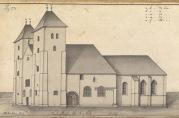 Mariakirken. Tegnet av J.J. Reichborn i 1768