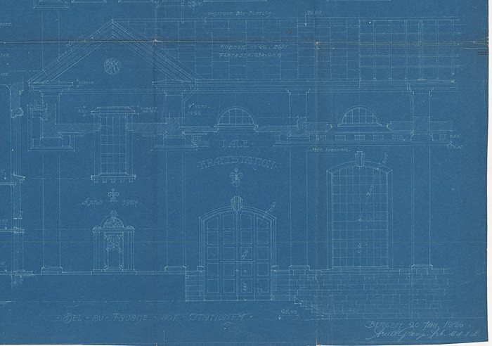Dale Kraftstasjon. Tegning av Arent Greve datert 20. januar 1926.