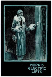Reklame for Morris Electric Lifts. Reklamemateriale tilsendt Dale Kraftstasjon. Fra slutten av 1920-tallet.