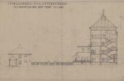 Arkitekttegning av skolen. (Fra arkivet etter Byggprosjektavdelingen.)