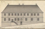Latinskolen. Tegning av J.J. Reichborn, fra Hildebrand Meyers manuskripter, 1764.