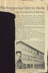 Åpningen av en ny, moderne skole var en viktig begivenhet for Mathopen. Avisreportasje i BA 26. oktober 1957. Fra skolens arkiv.