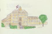 Skolen ble tegnet av Erling Ross som også var arkitekt for Midttun skole og Øvsttun gravkapell på 1920-tallet. Tegningen er fra et sanghefte i forbindelse med skolens 50-årsjubileum. Fra skolens arkiv