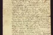 Eiendomsskjøte fra 1676 skrevet på gotisk. Funnet i Bergen Sparebanks arkivmateriale.