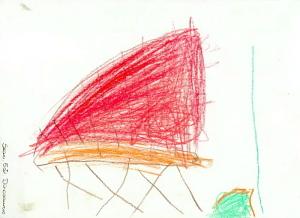 Tegning av en dinosaur, fra barnehagens årsplan for 1995, tegnet av Sean 5 år. Arkivet etter Laksevåg barnehage.