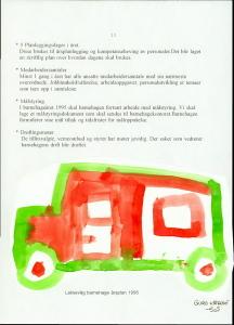 Side fra barnehagens årsplan for 1995 med tegning av en buss, tegnet av Guro Katrine 5 år. Arkivet etter Laksevåg barnehage.
