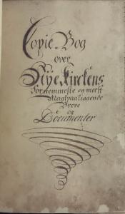 Kopibok over Nykirkens fornemste og mest maktpåliggende brev og dokumenter 1647-1801. Tittelblad. (A-1277).