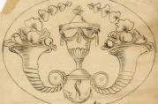 Skisse til intarsiamotiv. Fra arkivet etter Knag, Christoffer og Alf (A-1790)